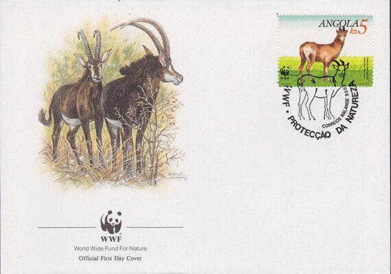 Angola 1990 WWF - Giant Sable Antelope FDCc