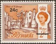 Bermuda 1970 Definitive Issue of 1962 Surcharged l
