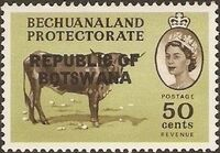 Botswana 1966 Overprint REPUBLIC OF BOTSWANA on Bechuanaland 1961 l