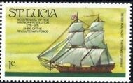 St Lucia 1976 200th Anniversary of American Revolution - Revolutionary Era Ships b