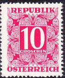 Austria 1949 Postage Due Stamps - Square frame with digit (1st Group) d