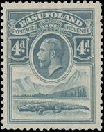 Basutoland 1933 George V, Crocodile and River Scene e