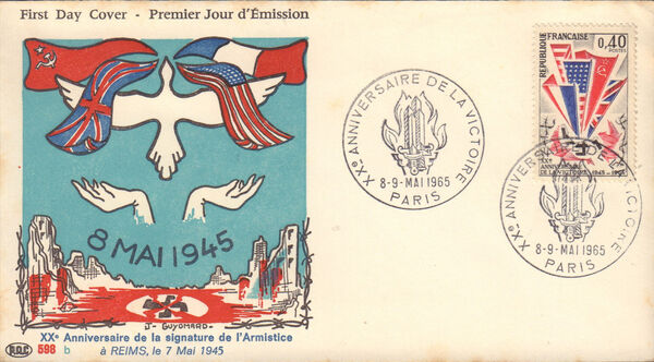 France 1965 20th Anniversary of Victory in World War II FDCa