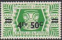 Wallis and Futuna 1946 Ivi Poo Bone Carving in Tiki Design Surcharged g