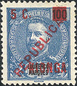 Kionga 1916 D Carlos I from Lourenço Marques with Overprint and Surcharged d