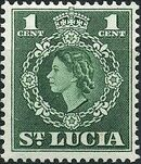 St Lucia 1953 Queen Elizabeth II and Arms of St Lucia a