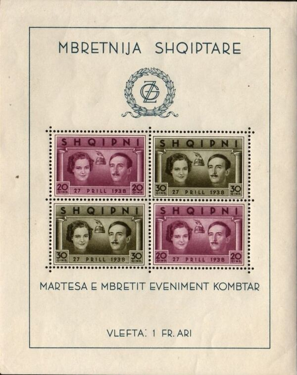 Albania 1938 Wedding of King Zog I & Countess Geraldine Apponyi i
