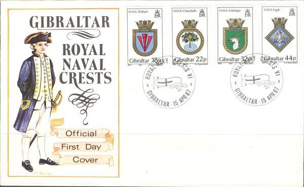 Gibraltar 1987 Royal Navy Crests 6th Group FDCa