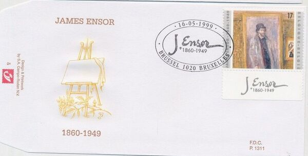 Belgium 1999 50th Anniversary of the Death of James Ensor FDCa