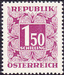 Austria 1953 Postage Due Stamps - Square frame with digit (4th Group) a