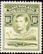 Basutoland 1938 George VI, Crocodile and River Scene k