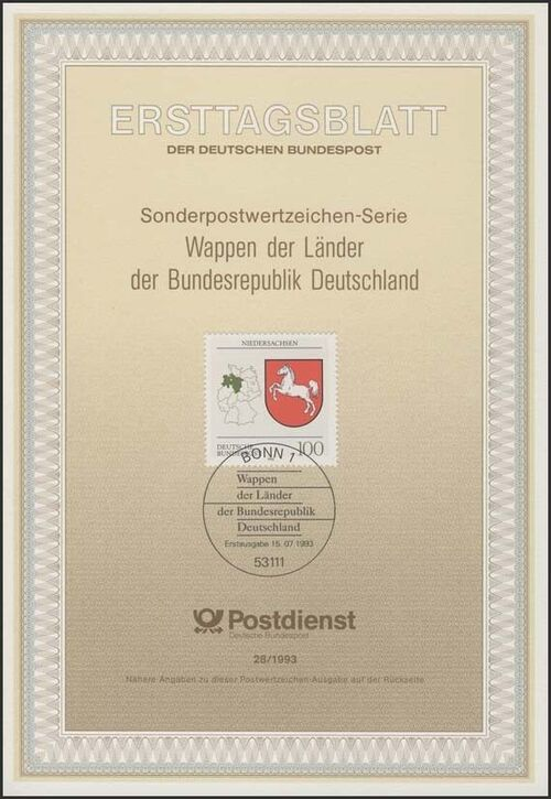 Germany, Federal Republic 1993 Coat of Arms of the Federal States of Germany (2nd Group) IOP-ETBc