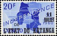 Katanga 1960 Postage Stamps from Congo Overprinted j