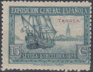 Tangier-Spain 1929 Seville-Barcelona Issue of Spain Overprinted in Blue or Red c