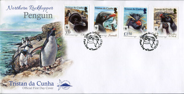 Tristan da Cunha 2017 WWF - Northern Rockhopper Penguin FDCa
