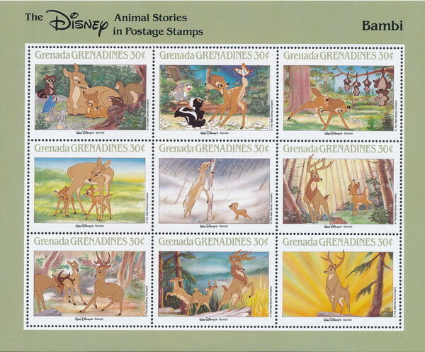 Grenada Grenadines 1988 The Disney Animal Stories in Postage Stamps SSa