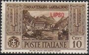 Italy (Aegean Islands)-Lipso 1932 50th Anniversary of the Death of Giuseppe Garibaldi a