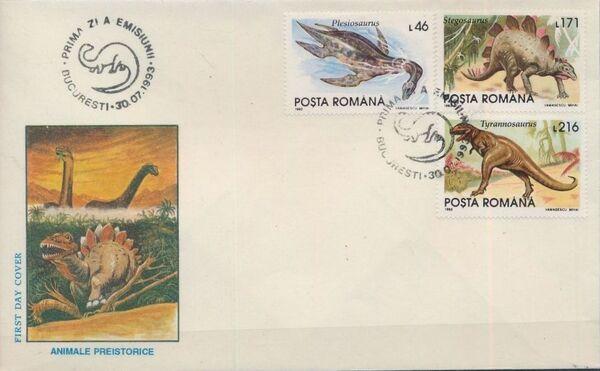 Romania 1993 Dinosaurs FDCa