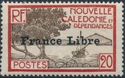 "New Caledonia 1941 Definitives of 1928 Overprinted in black ""France Libre"" h"