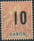 Gabon 1912 Navigation and Commerce Surcharged g