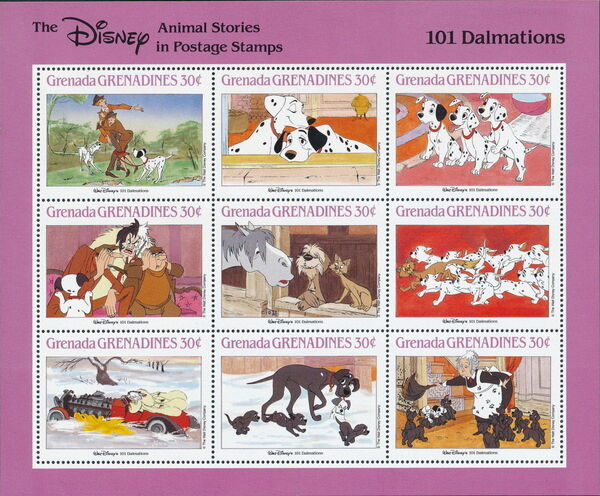 Grenada Grenadines 1988 The Disney Animal Stories in Postage Stamps SSc