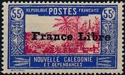 "New Caledonia 1941 Definitives of 1928 Overprinted in black ""France Libre"" o"