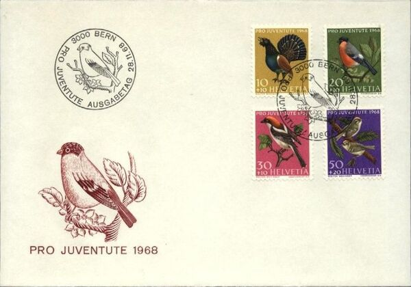 Switzerland 1968 PRO JUVENTUTE - Birds FDCa