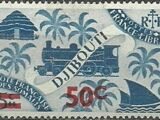 French Somali Coast 1945 Locomotive and Palms Surcharged