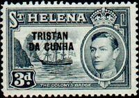 Tristan da Cunha 1952 Stamps of St. Helena Overprinted e
