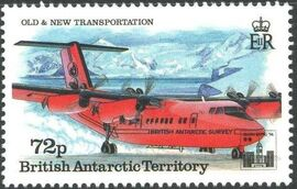 British Antarctic Territory 1994 Old and New Transportation Ovpt. Hong Kong '94 Emblem f