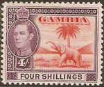 Gambia 1938 King George VI and Elephant (1st Group) j