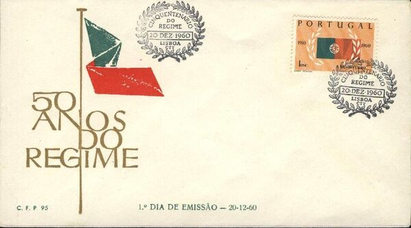 Portugal 1960 50th Anniversary of the Portuguese Republic FDCa
