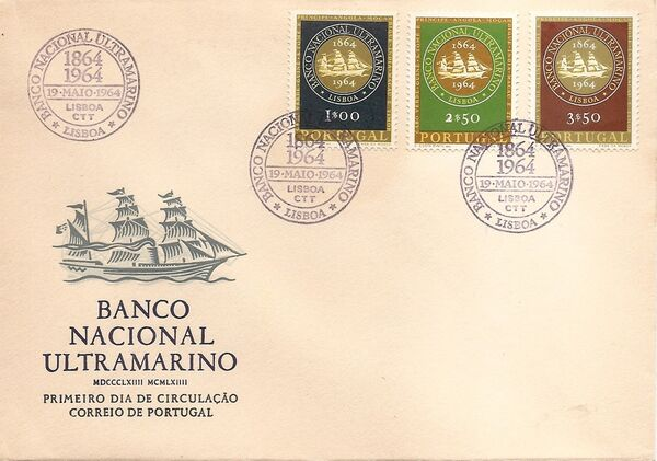 Portugal 1964 1st Centenary of the Banco Nacional Ultramarino FDCa