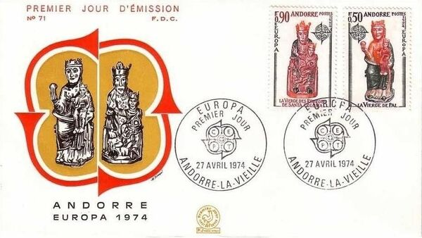 Andorra-French 1974 - Europa - Sculptures FDCd