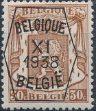 Belgium 1938 Coat of Arms - Precancel (11th Group) d