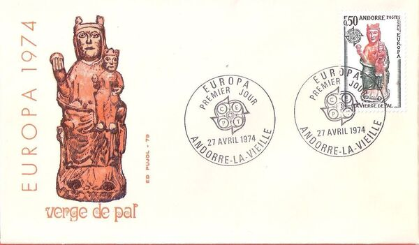 Andorra-French 1974 - Europa - Sculptures FDCa