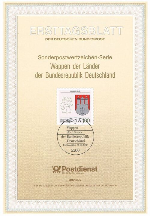 Germany, Federal Republic 1992 Coat of Arms of the Federal States of Germany (1st Group) IOP-ETBf