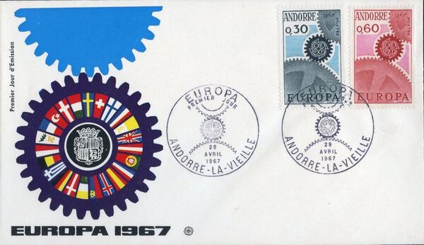 Andorra-French 1967 Europa FDCc
