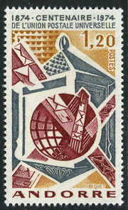 Andorra-French 1974 Centenary of Universal Postal Union a