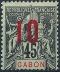 Gabon 1912 Navigation and Commerce Surcharged h