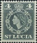 St Lucia 1953 Queen Elizabeth II and Arms of St Lucia d