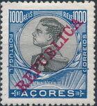 Azores 1911 D. Manuel II Overprinted REPUBLICA n