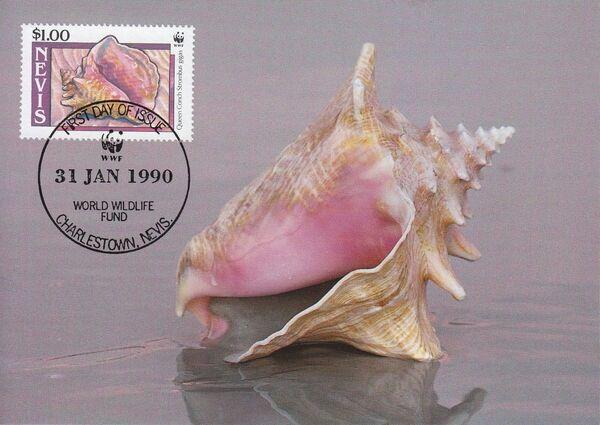 Nevis 1990 WWF Queen Conchs (Strombus gigas) MCd