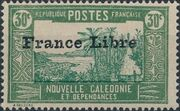 "New Caledonia 1941 Definitives of 1928 Overprinted in black ""France Libre"" j"