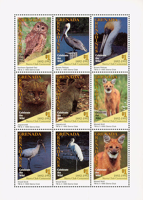 Grenada Grenadines 1995 100th Anniversary of Sierra Club - Endangered Species SSb