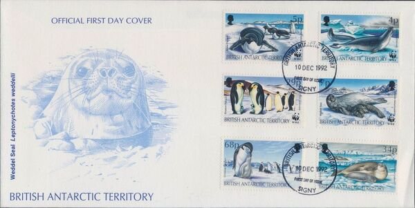 British Antarctic Territory 1992 WWF Seals and Penguins FDCa