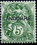 "Andorra-French 1931 Type ""Blanc"" of France Overprinted ""ANDORRE"" d"