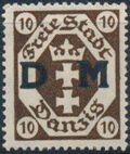 """Danzig 1921 Issues from 1921-1922 Overprinted """"D M"""" b"""