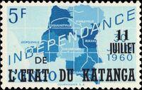 Katanga 1960 Postage Stamps from Congo Overprinted g