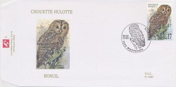 Belgium 1999 Owls FDCc